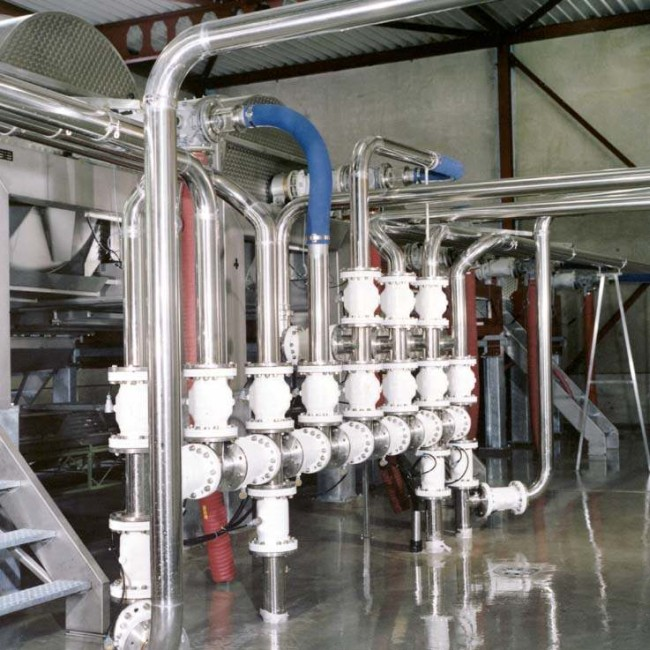 Pinch Valves used for mass distribution of wine